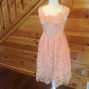 Pink dress. Lace overlay over satin and tool